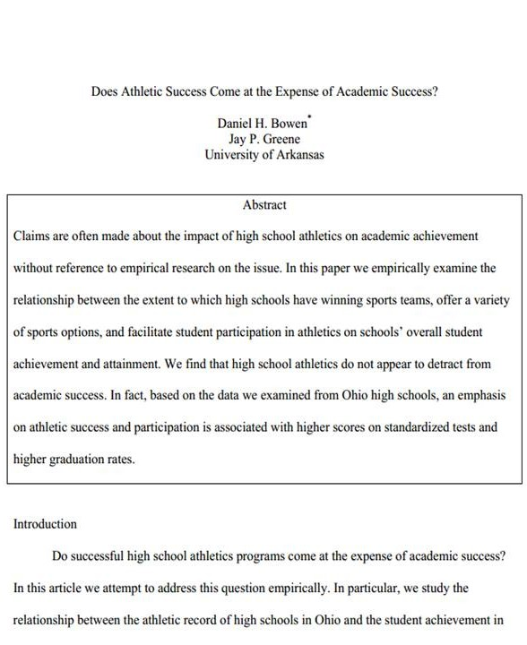 image bowen greene - athletic success expense academic success